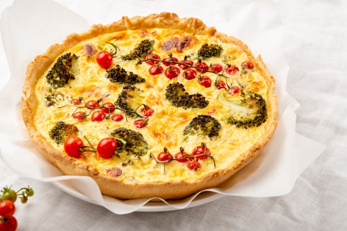 Whole Cooked Broccoli Quiche with Tomatoes