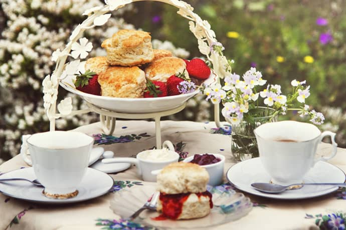 English Scones on an Outdoor Tea Table