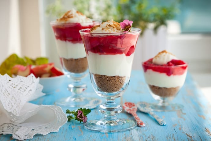 Closeup view of 3 Strawberry Rhubarb Parfaits