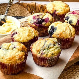 Closeup of Best Berry Muffins: Mixed Berry Yogurt Muffins