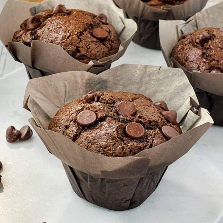 Very Close Shot of Single Double Chocolate Zucchini Muffin