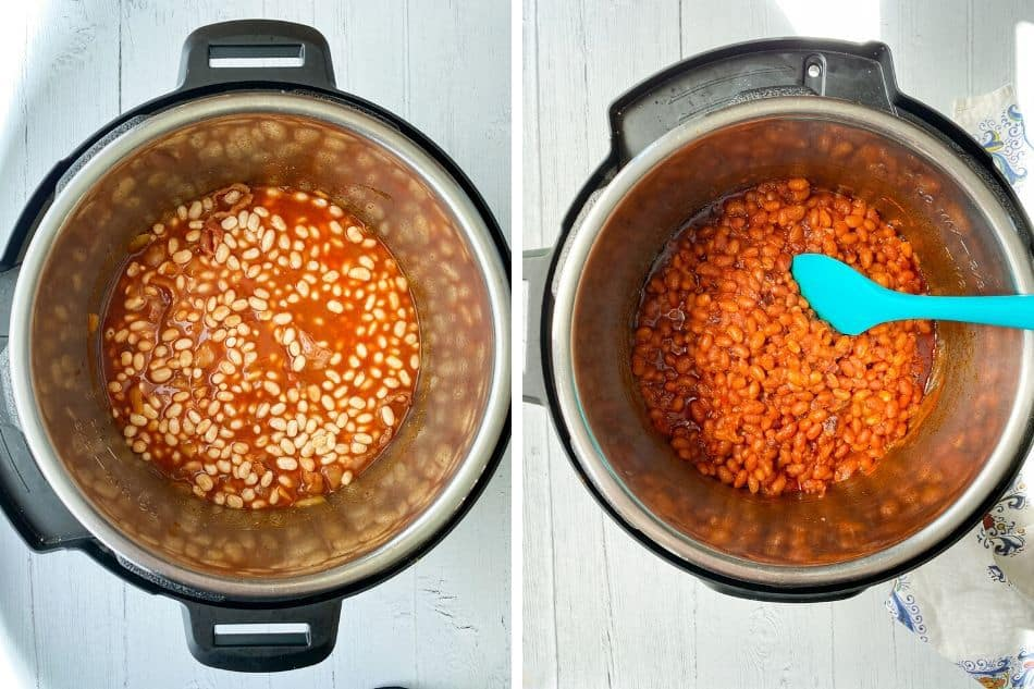 Uncooked Beans and Cooked Smokey Instant Pot Baked Beans