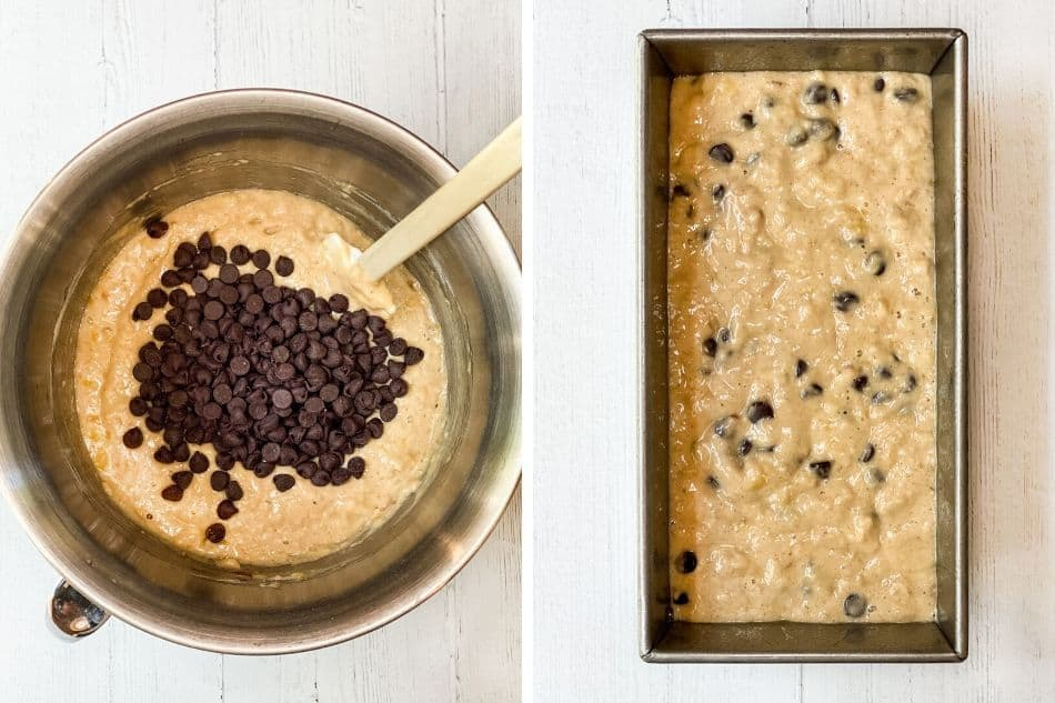 Split Image of Batter in Mixing Bowl with Batter in Loaf Pan