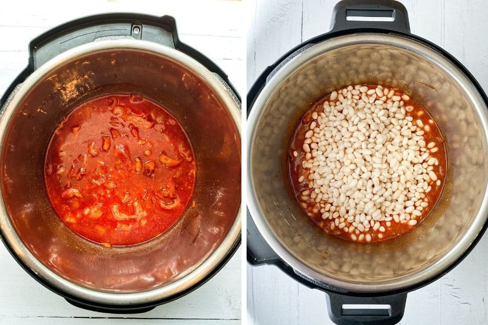 Sauteing the Bacon and Adding Ingredients to the Instant Pot for Baked Beans