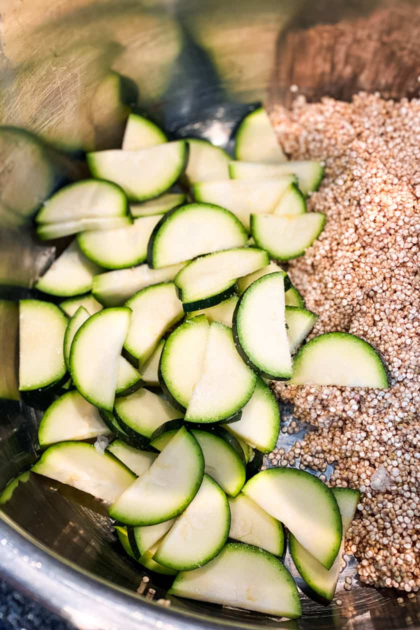 Instant Pot Zucchini and Lemon Quinoa Ingredients in the pressure cooker