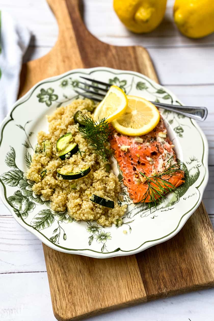 Instant Pot Zucchini and Lemon Quinoa with a Filet of Salmon