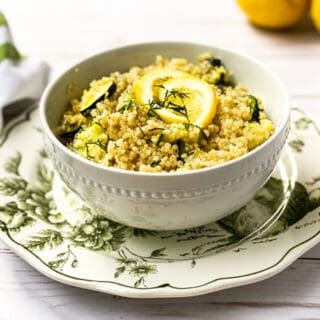 Instant Pot Zucchini and Lemon Quinoa on a green and white plate