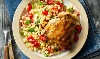 Chicken Thigh and Corn Salad for http://www.eatingwell.com/recipe/266354/grilled-chicken-thighs-with-summer-corn-salad/