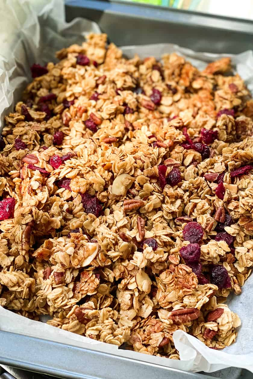 Closeup view of healthy granola in baking pan