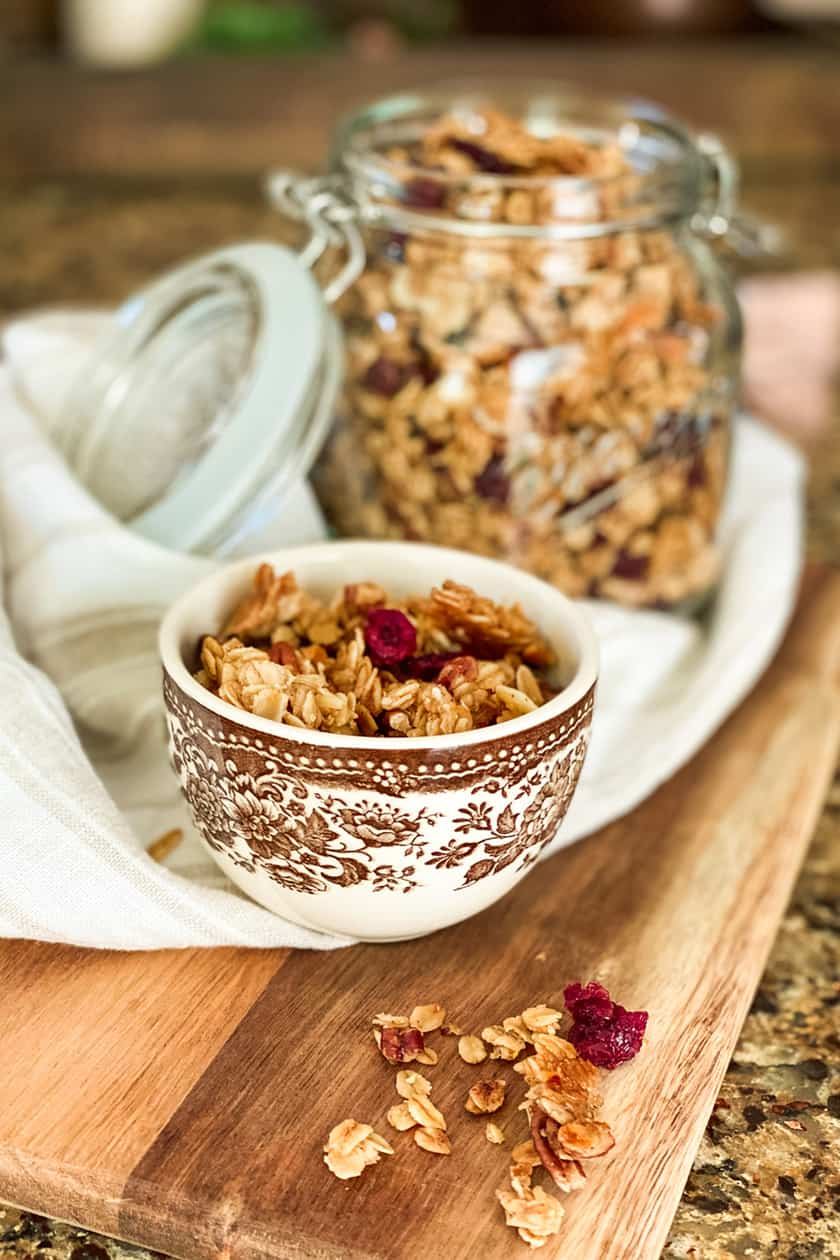 Healthy Granola in a Brown and White Teacup
