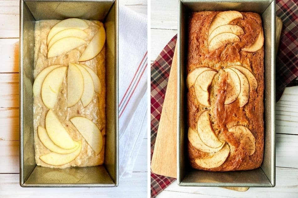 Horizontal view of unbaked and baked Apple Cake with Brown Sugar Maple Glaze