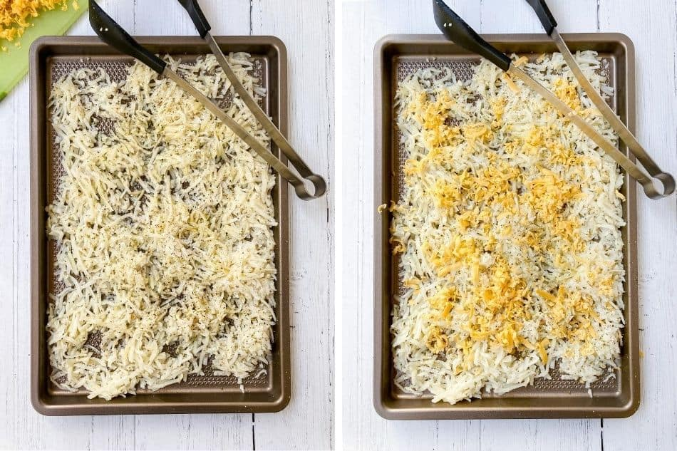 Unbaked hashbrowns on baking sheet.