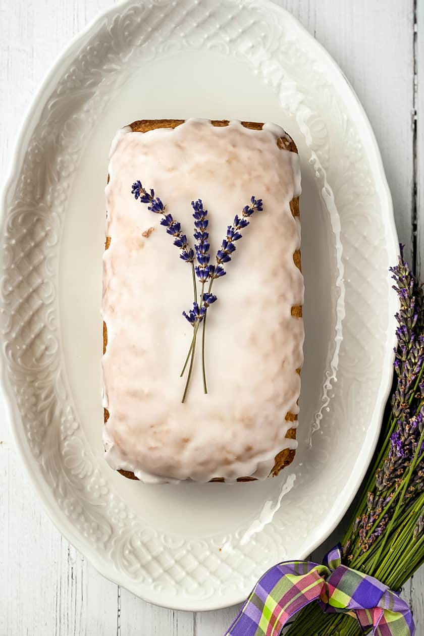 Vertical view of Lavender Tea Bread