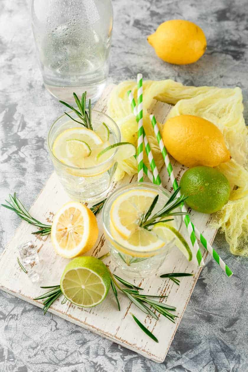 Top View of Rosemary Lemonade with slices of lemon and lime