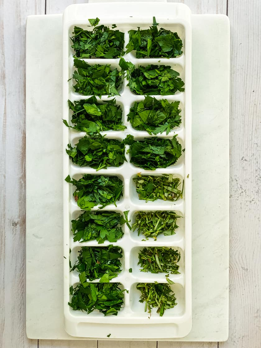 Chopped Herbs in an Ice Cube Tray