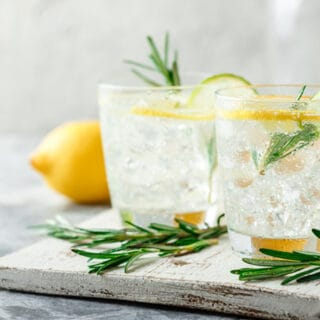 Closeup of 2 glasses of Rosemary Lemonade Recipe