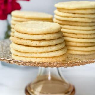 Easy Vanilla Tea Cake Cookies on a Glass Platter