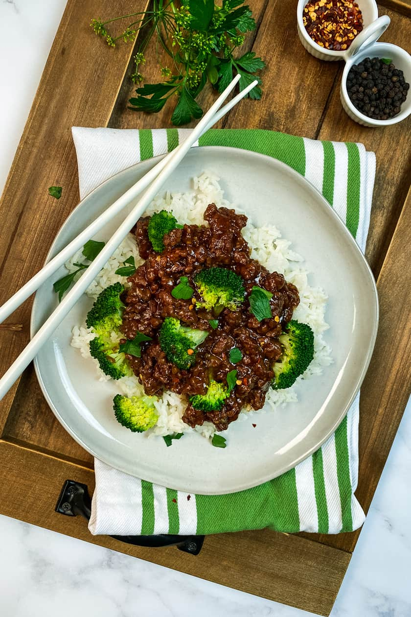 Top view of Instant Pot Beef and Broccoli