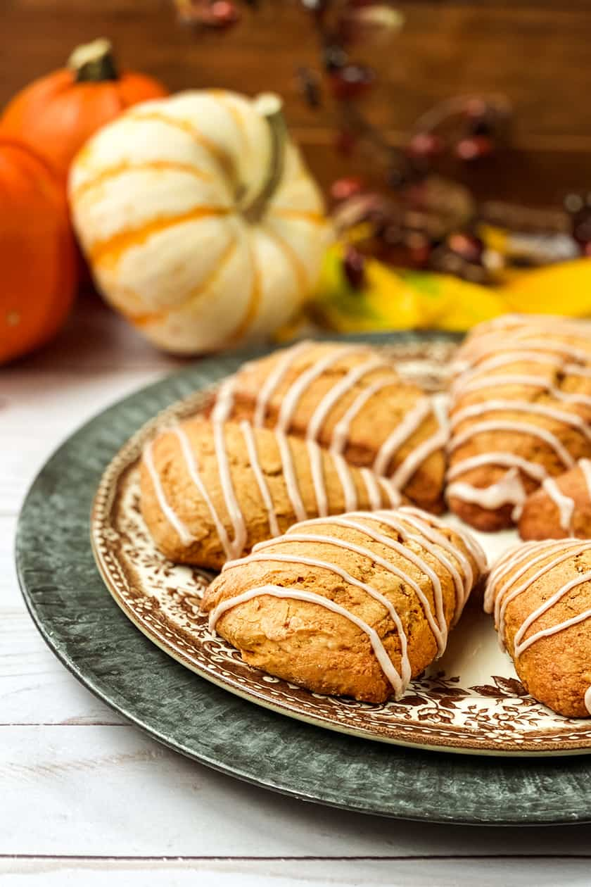 Closeup of Pumpkin Scones with Fall Leaves