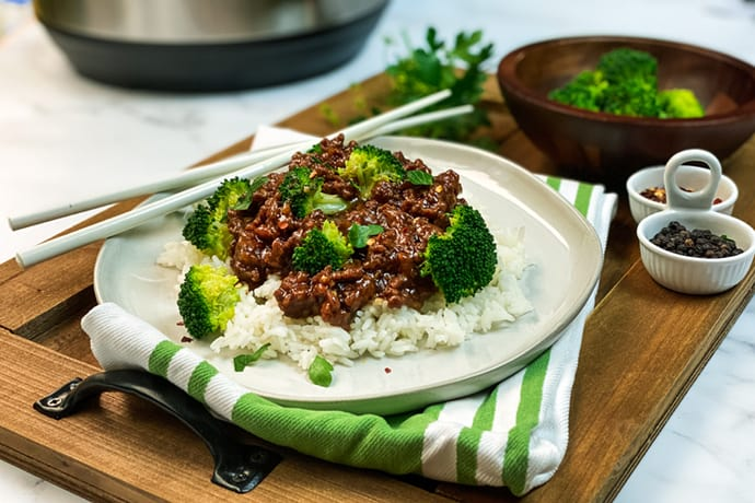 Plate of Instant Pot Beef and Broccoli