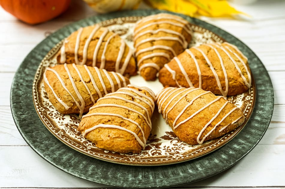 Top view of Pumpkin Scones with Cinnamon Icing