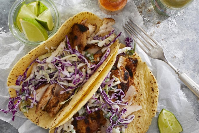 Fish Tacos with Coleslaw for Early Fall Dinners