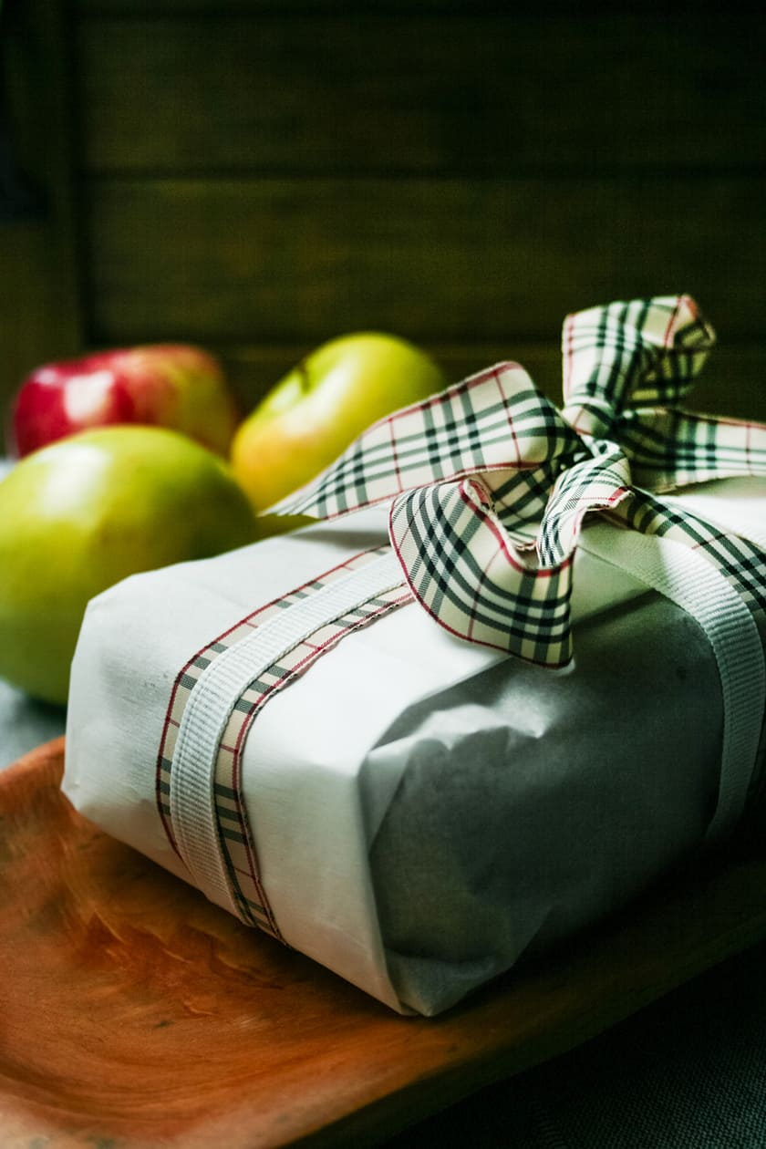 Wrapped Apple Spice Visiting Cake and Plaid Ribbon