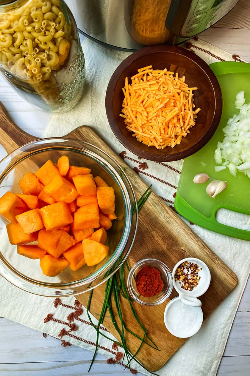 Ingredients for Instant Pot Butternut Squash Mac and Cheese
