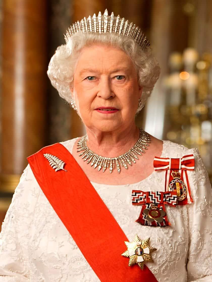 Queen Elizabeth with Royal Red Sash