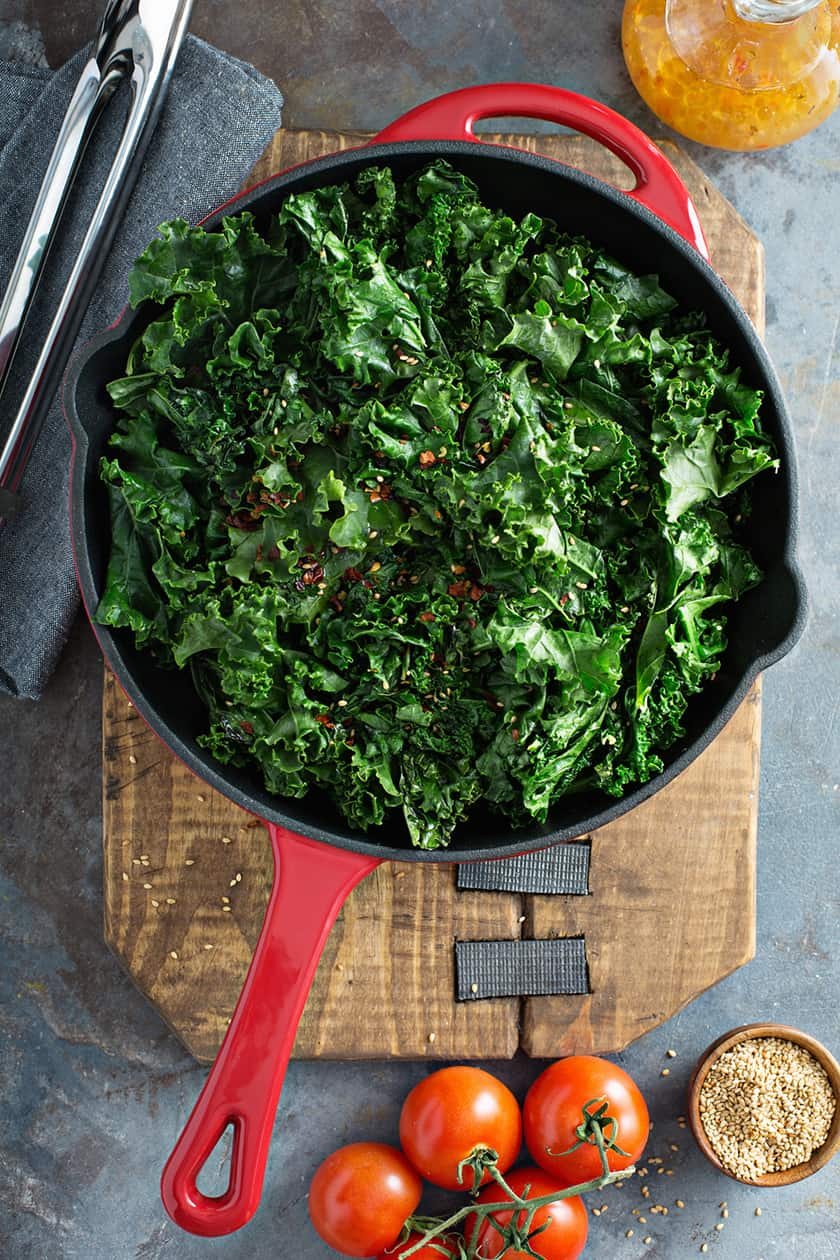Sauteed Greens on a Wooden Cutting Board
