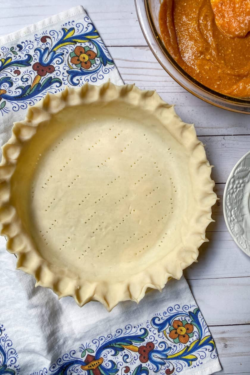 Pie shell and sweet potato pie filling