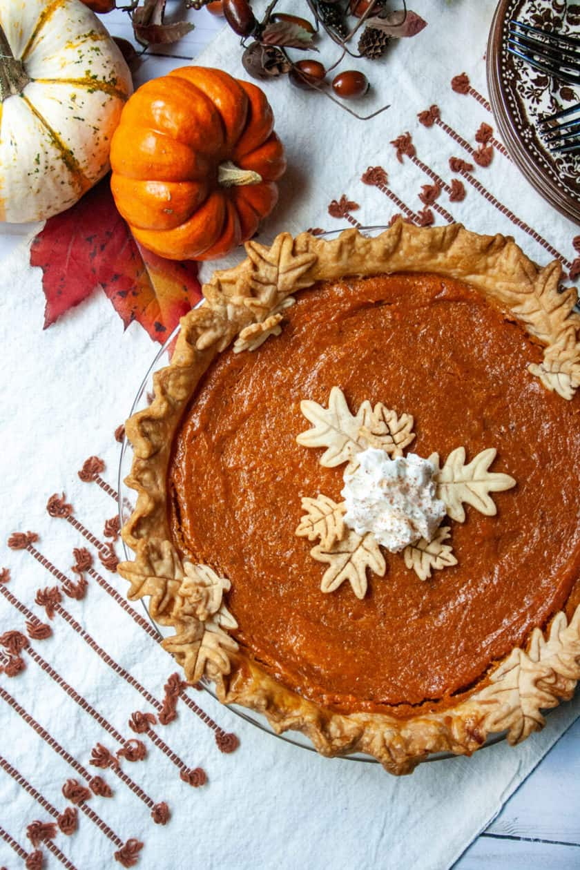 Top view of whole sweet potato pie