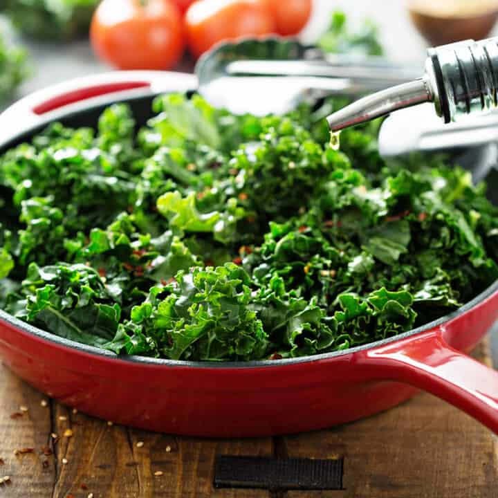Leafy Greens in a Red Skillet