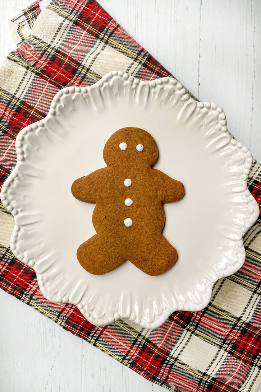 Simple Gingerman Cookie on a White Plate