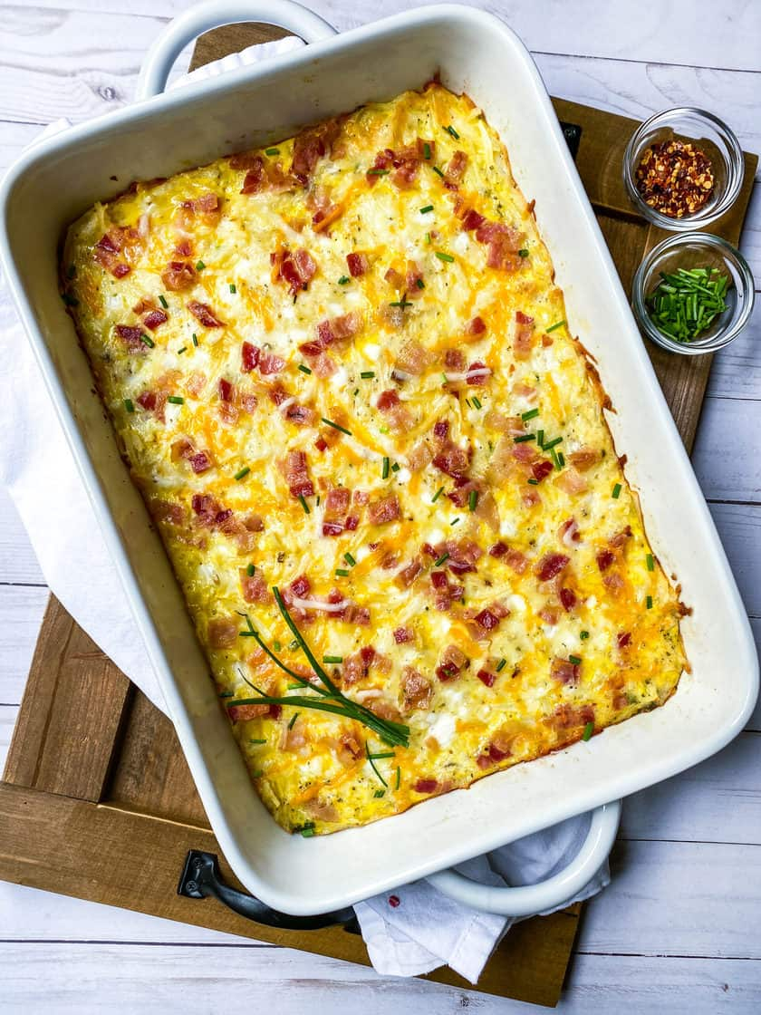 Full Baked Hashbrown Breakfast Casserole with Chives and Red Pepper Flakes