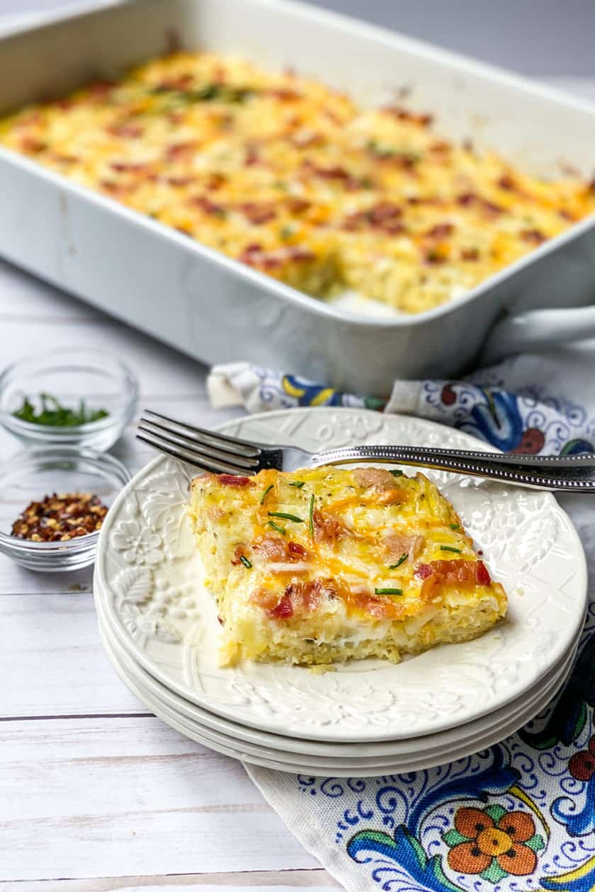 Easy Hashbrown Breakfast Casserole Recipe Cut Into Squares