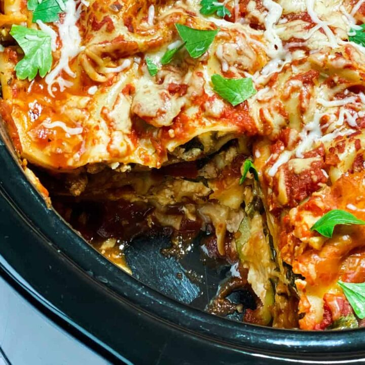 Easy Slow Cooker Lasagna cut into squares