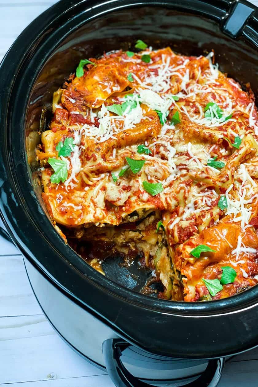 Cut Servings of Easy Slow Cooker Lasagna