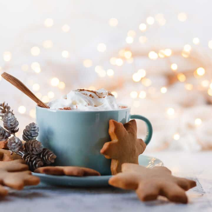 Side view of Gingerbread Latte in a blue mug