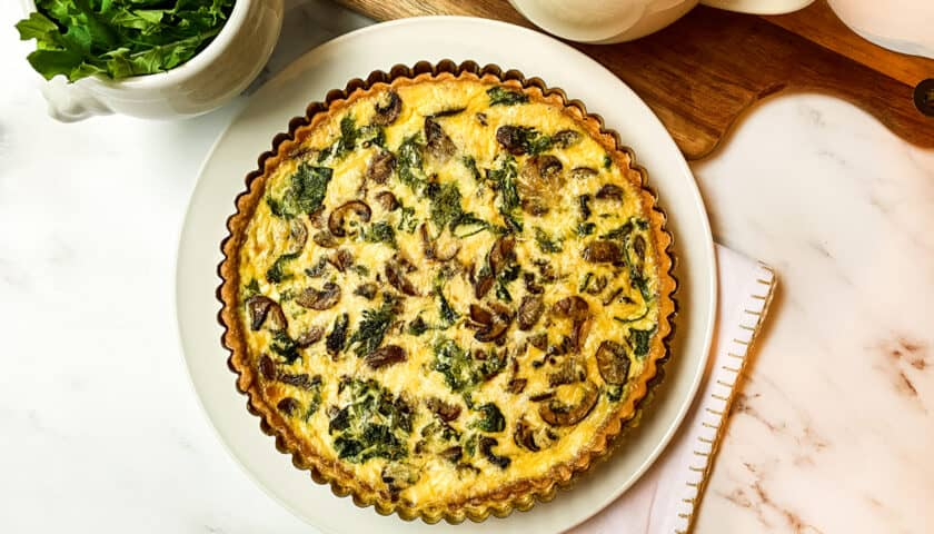 Easy Mushroom and Kale Quiche