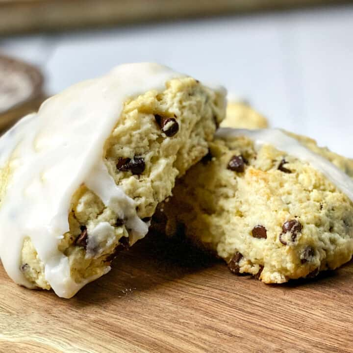 Closeup of Chocolate Chip Scones on a Wooden Board