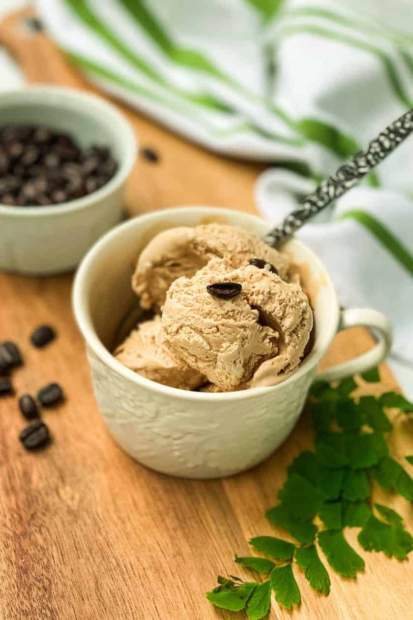 Mug of No Churn Irish Coffee Ice Cream with a spoon.