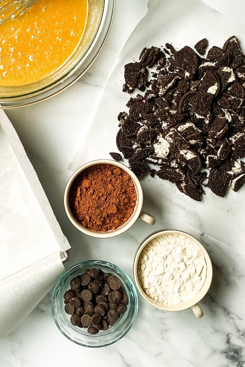 Ingredients for Oreo Brownies