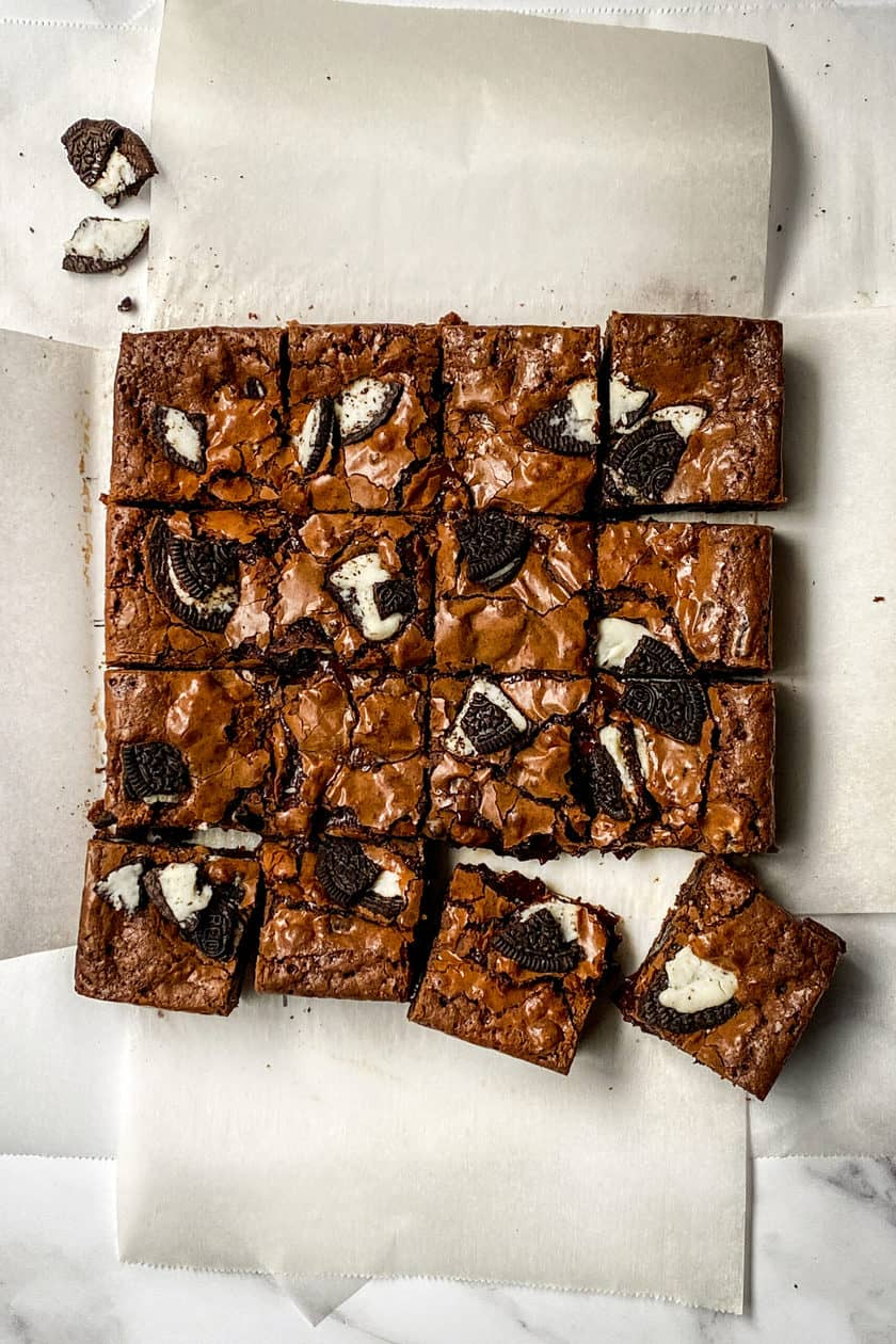 16 cut Oreo Brownie squares