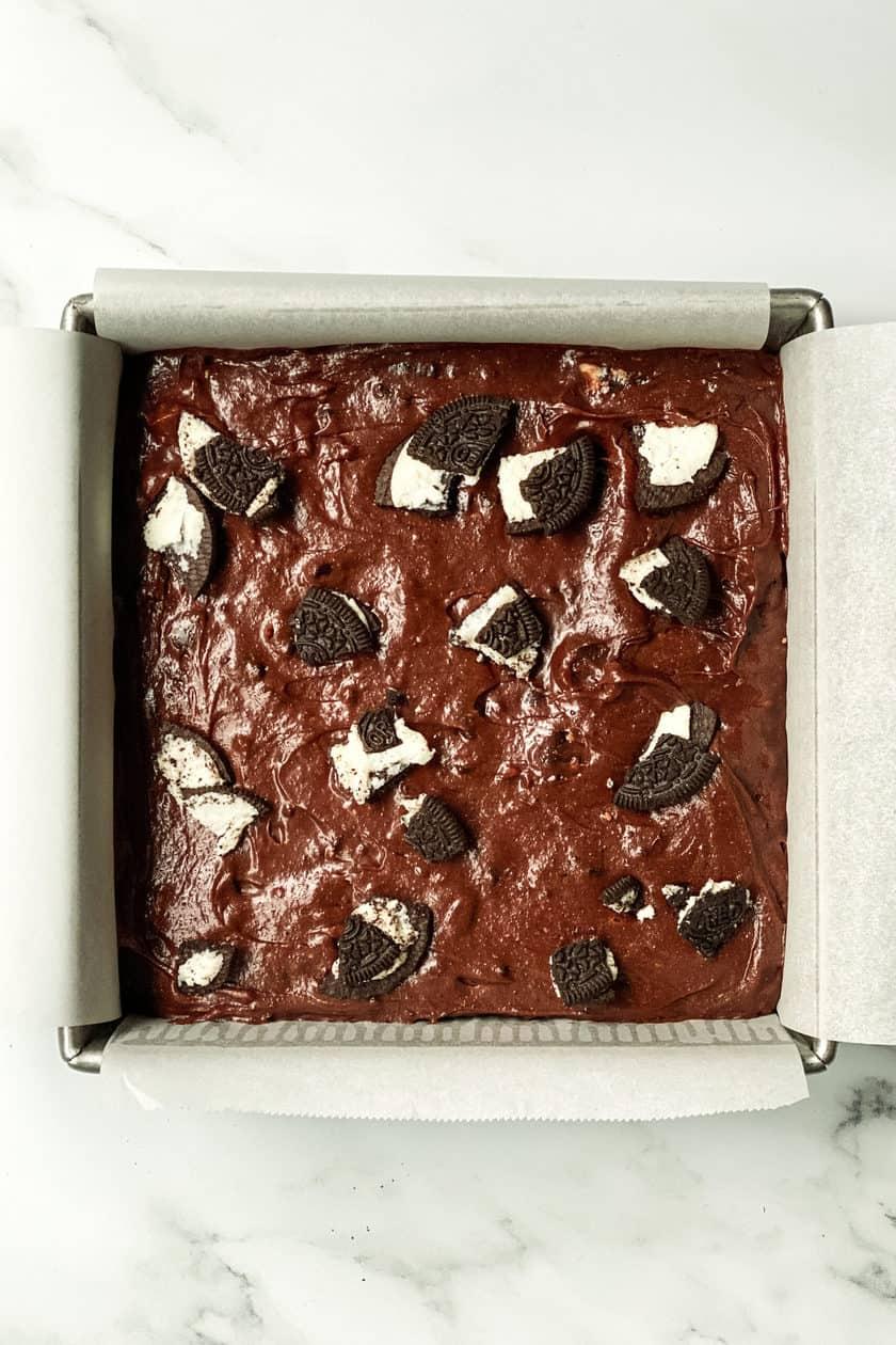Unbaked Oreo Brownies in a Baking Pan