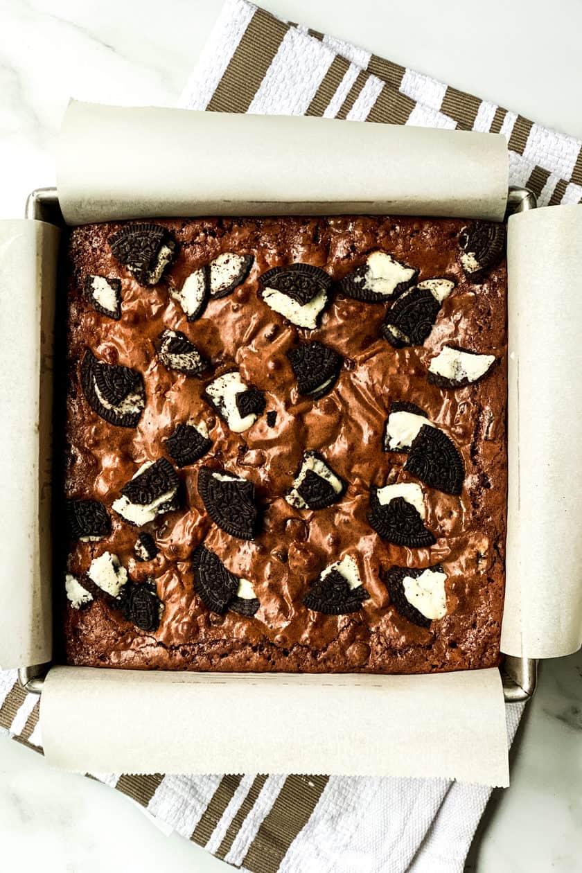 Uncut Oreo Brownies in a Baking Pan