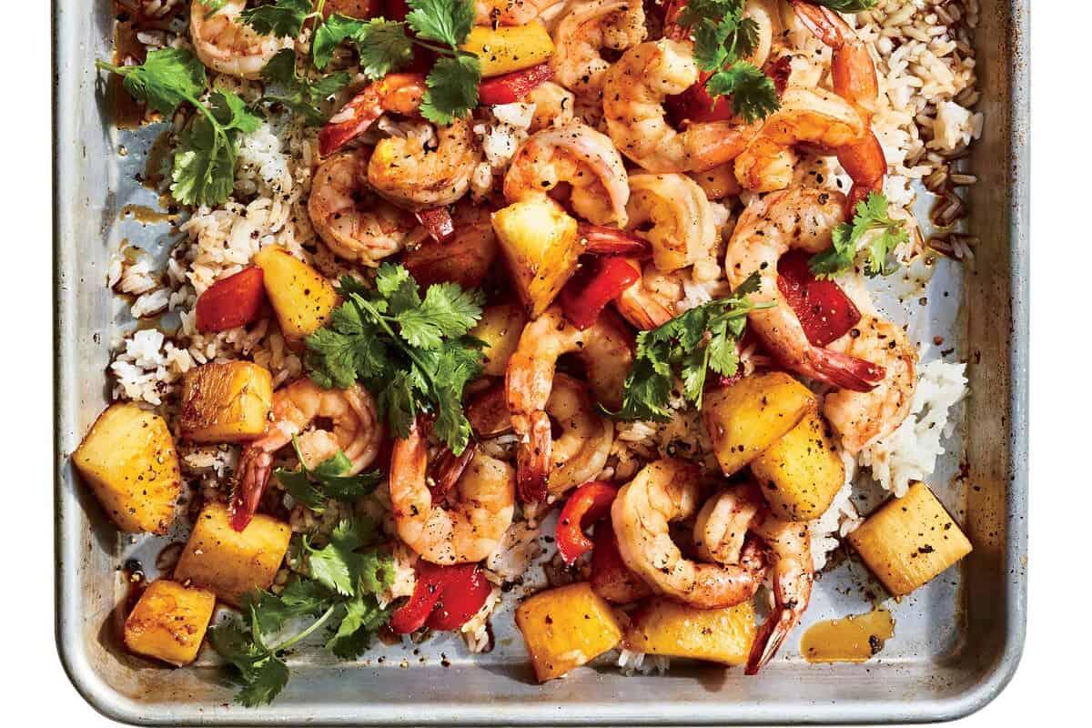Hawiian Shrimp on a Sheet Pan