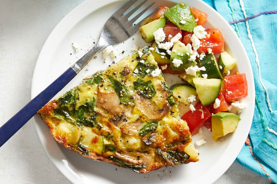 Spinach Frittata with Avocado Salad forMarch Mediterranean Diet Dinners: What to Cook (Mar 1)