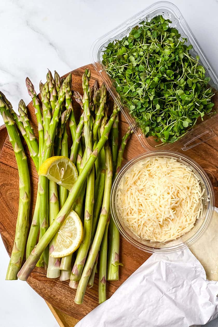 Ingredients of Asparagus, Greens, Cheese, and Pastry for Asparagus Tart