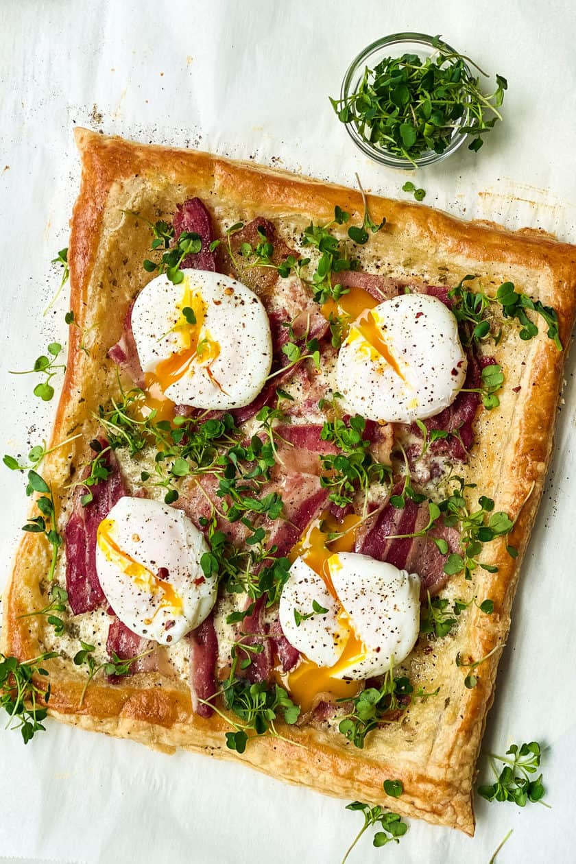 Top view of Breakfast Tart with Bacon and Eggs, uncut